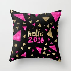 Modern pink gold triangles hello 2016 typography Throw Pillow