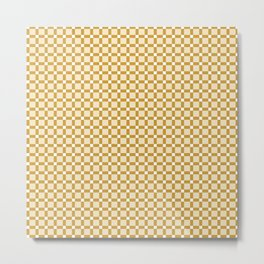 Ivory white brown geometrical abstract squares pattern Metal Print