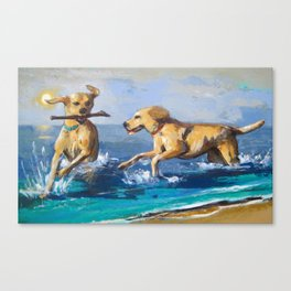 Dogs in the beach Canvas Print