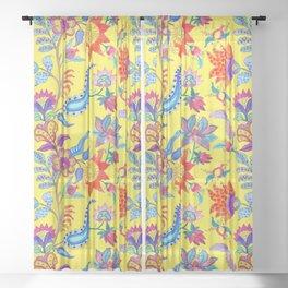 Fantasy Flora Yellow Sheer Curtain