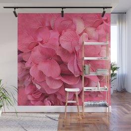Pink Shabby Chic Hydrangea Flower Prints Wall Mural