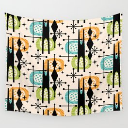 Retro Atomic Mid Century Pattern Orange Green and Turquoise Wall Tapestry