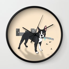 Attack of the Colossal Boston Terrier!!! Wall Clock