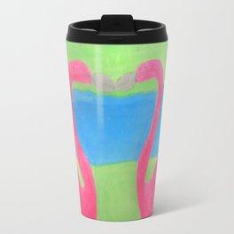 Pink Flamingo Mural Art Travel Mug