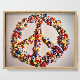 Peace Sign in Rainbow Sprinkles  Serving Tray
