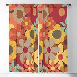 70s Autumn Flowers Blackout Curtain