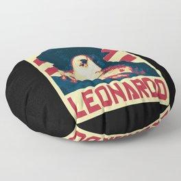 Leonardo Da Vinci Retro Propaganda Floor Pillow