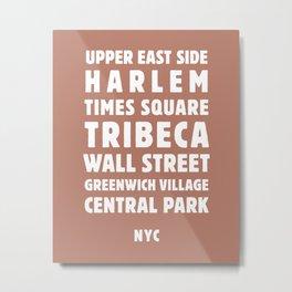 NYC Neighborhoods (Spice) Metal Print