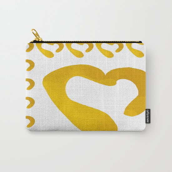 Gold Hearts on White - Love is Golden Carry-All Pouch