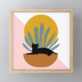 The Cat and The Sun III Framed Mini Art Print