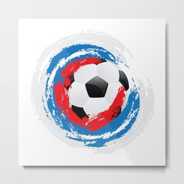Football Ball and red, blue, white Strokes Metal Print