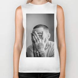 Mac Miller Black And White Portrait Biker Tank