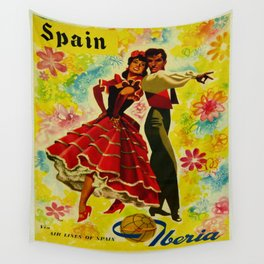 Vintage Spain Travel Ad - Flamenco Wall Tapestry