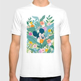 """""""Mickey Mouse in Flower Garden"""" by Sun Lee T-shirt"""