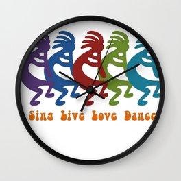 Sing, Live, Love Dance Tribal Kokopelli Wall Clock