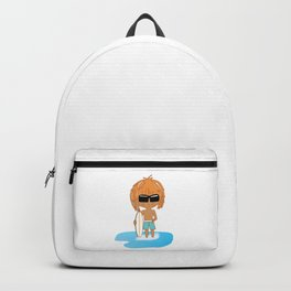 Cute Chibi Surfer Dude in Turquoise Backpack