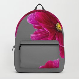 FUCHSIA PINK FLOWER ON CHARCOAL GREY ART Backpack