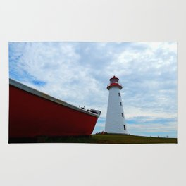 Boat and Lighthouse in Point Prim PEI Rug