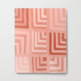 Painted Color Block Squares in Peach Metal Print