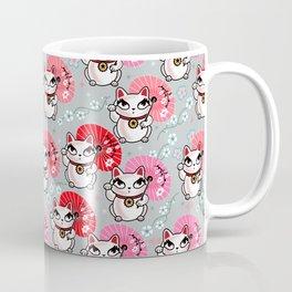 Kyoto Kitty on Grey Coffee Mug