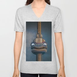 The smiling CN Tower Unisex V-Neck