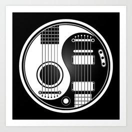 White and Black Acoustic Electric Yin Yang Guitars Art Print