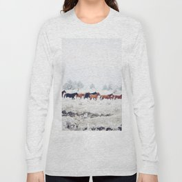 Winter Horse Herd Long Sleeve T-shirt