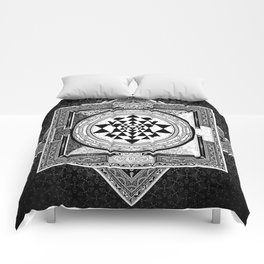 Sri Yantra Black & White Sacred Geometry Mandala Comforters
