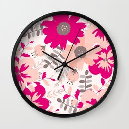 Big Flowers in Hot Pink and Accent Gray Wall Clock