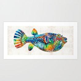 Puffer Fish Art - Blow Puff - By Sharon Cummings Art Print
