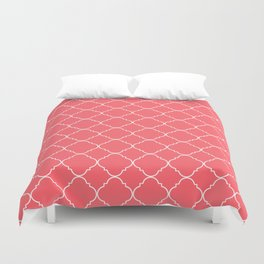 Coral Red Moroccan Duvet Cover