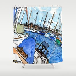 Boats at the Marina Shower Curtain