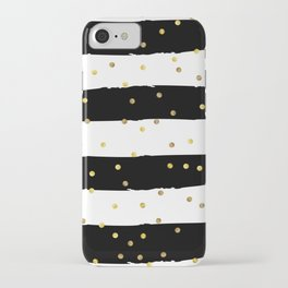 Black and white grunge striped background with Gold confetti iPhone Case