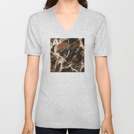 Sienna Brown and Black Marble With Creamy Veins Unisex V-Neck