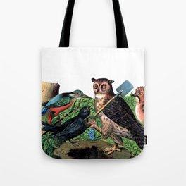 Vintage Owl with Shovel Tote Bag