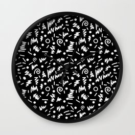 Memphis Night - black and white retro throwback 80's inspired pattern design Wall Clock