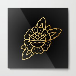 Gold Traditional Rose Metal Print
