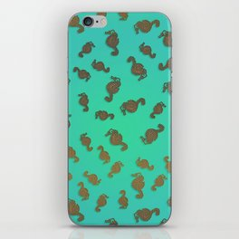 Copper Seahorses in an Aqua Sea iPhone Skin