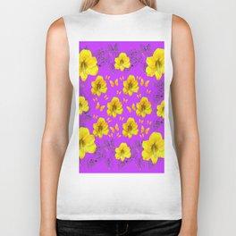 YELLOW AMARYLLIS FLOWERS & BUTTERFLIES PURPLE ART Biker Tank