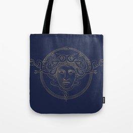 medusa / gold minimal line logo on navy background Tote Bag
