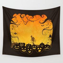 Halloween Pumpkin Faces Wall Tapestry