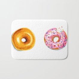 Two donuts in watercolor Bath Mat