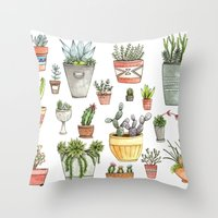 succulents Throw Pillows featuring Potted Succulents by Brooke Weeber