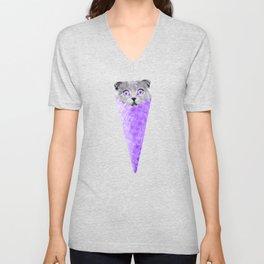 Cat Graphic Purple Cat Ice Cream Cone Cat Clipart Unisex V-Neck