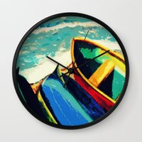 boats Wall Clocks featuring Boats by Christina Rowe