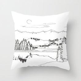 Minimal Mountain Lake Landscape 1 Throw Pillow