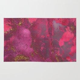 Pink and Gold Blush Rose Glitter Gemstone Marble Rug