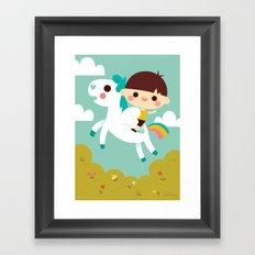 Riding a white pegasus Framed Art Print