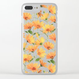 Painted Radiant Orange Daisies on off-white Clear iPhone Case