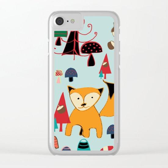 Woodland fox blue Clear iPhone Case